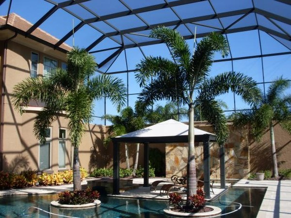 Patio pool screen enclosure for Florida house plans with lanai